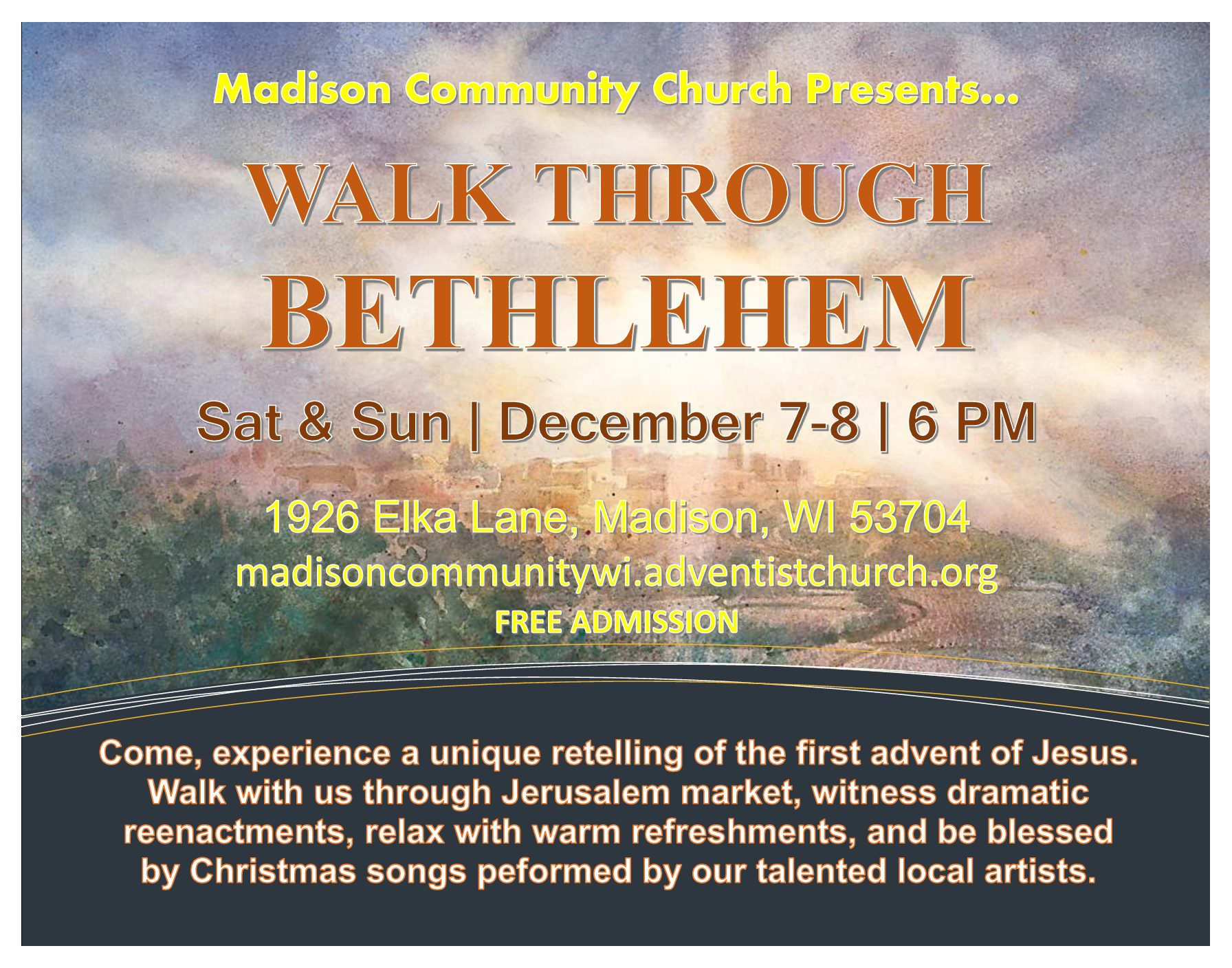 "Enjoy A Free ""Walk Through Bethlehem"" Event December 7 & 8"
