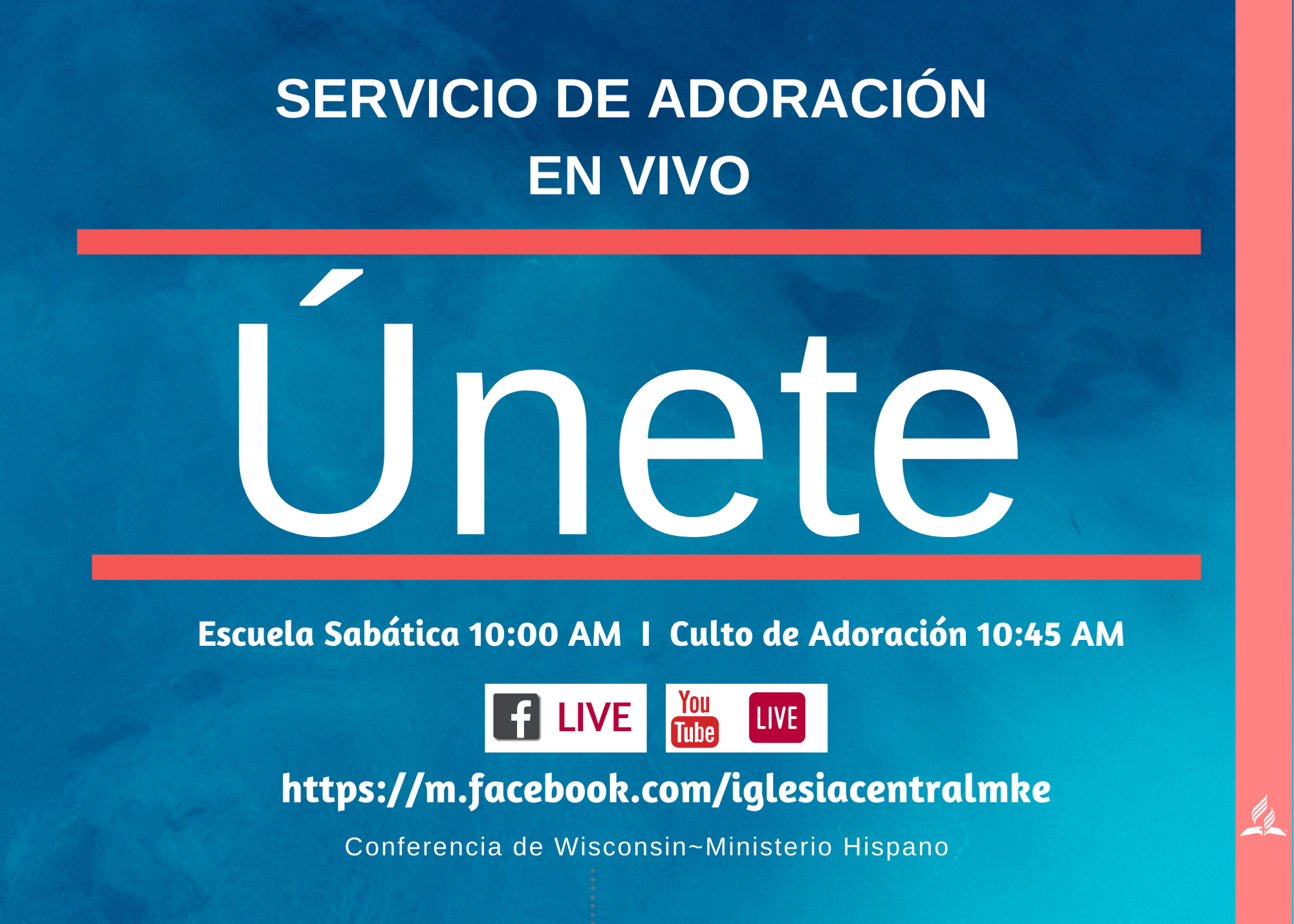Servicio de Adoración en Vivo Iglesias Hispanas FACEBOOK LIVE/YouTube/English