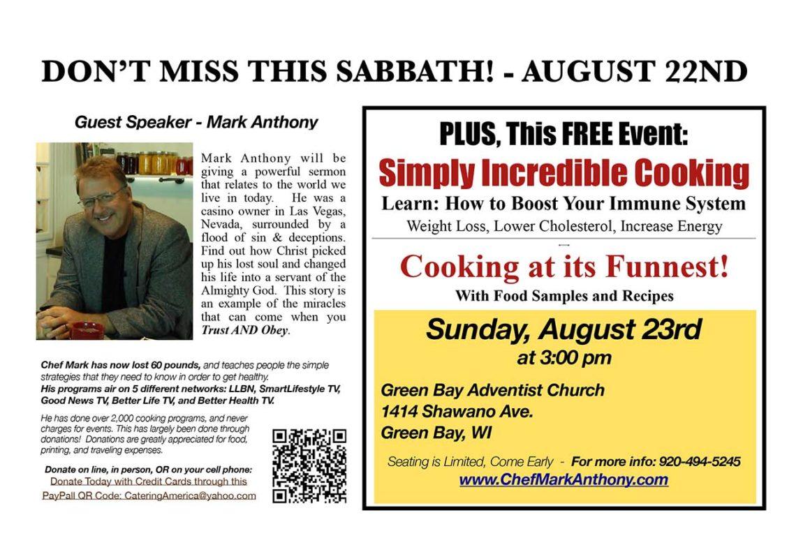 Guest Speaker Mark Anthony in Green Bay Church Sabbath August 22