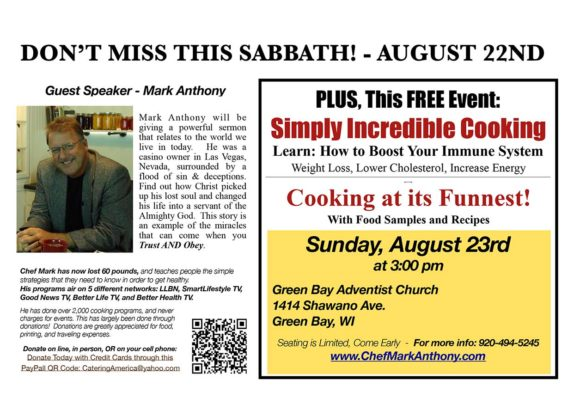 Guest Speaker Mark Anthony in Green Bay Church Sabbath August 22