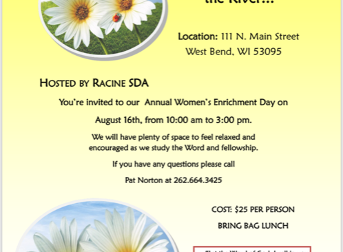 Annual Racine Women's Enrichment Day August 16