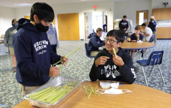 Wisconsin Academy Students Trying Sugarcane at Lunch