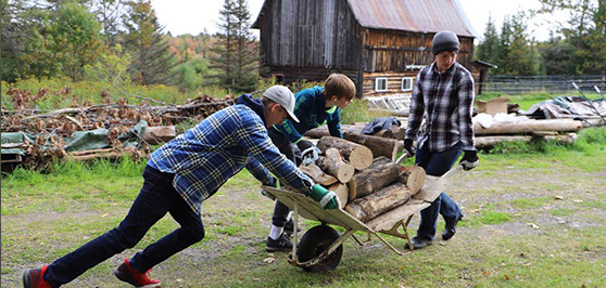 Wisconsin Academy Students Helping the Haskells Prepare for Winter