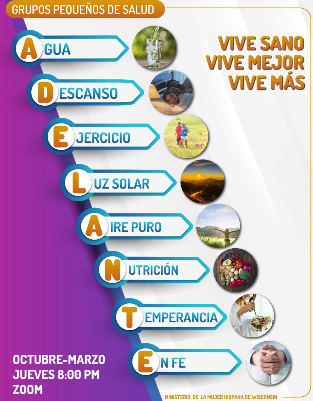 "Grupos Pequeños de Salud ADELANTE ""NEWSTART"" ""Viva Sano, Viva Mejor, Viva Más"