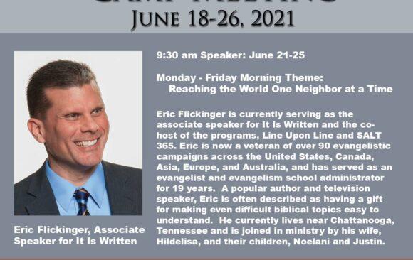 Featured Speaker for Camp Meeting: Eric Flickinger